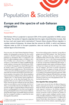 Europe and the spectre of sub-Saharan migration - Population and