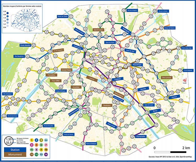Fécondité et stations de métro parisien